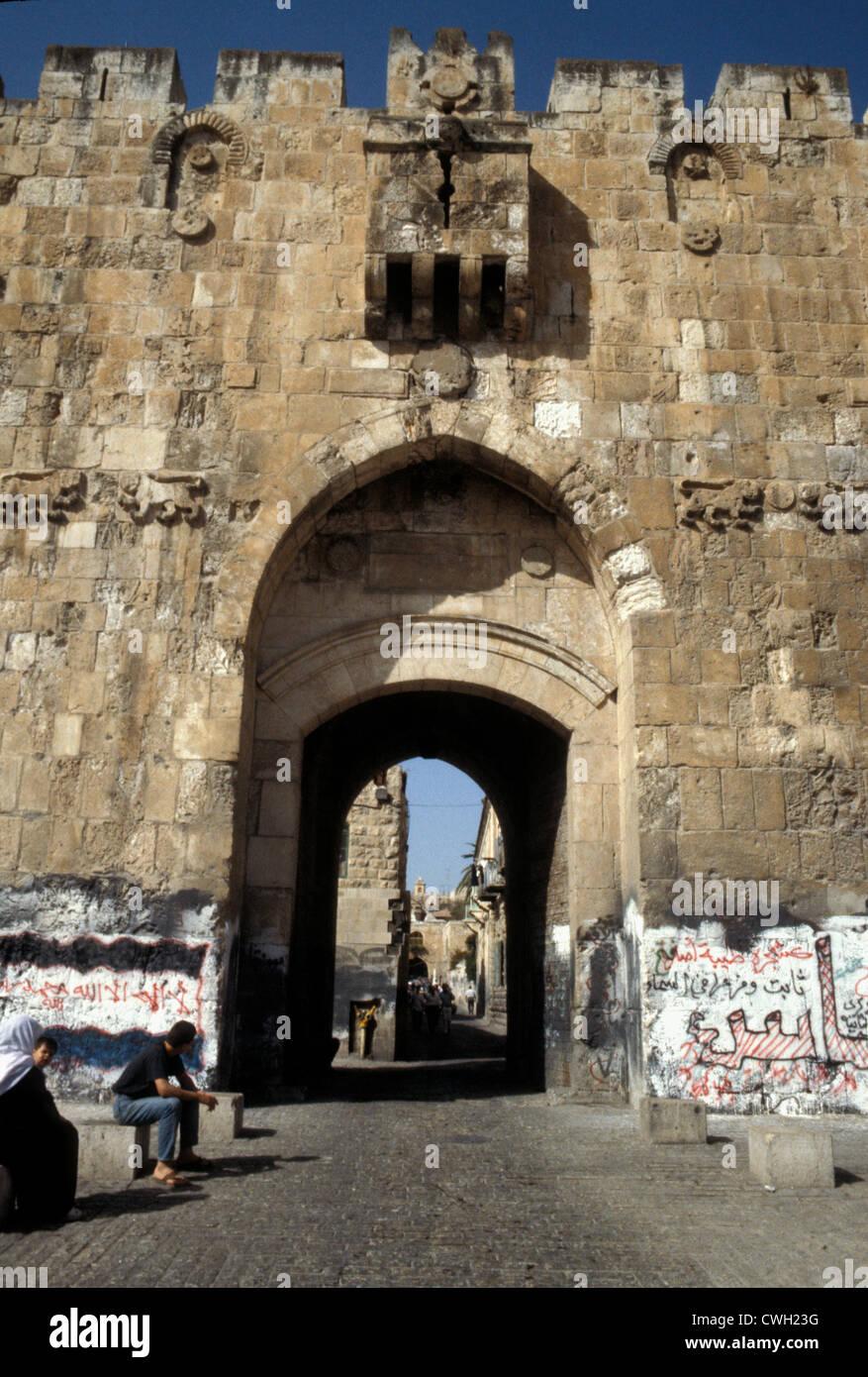 16th century Lion Gate, Ottoman, Jerusalem - Stock Image