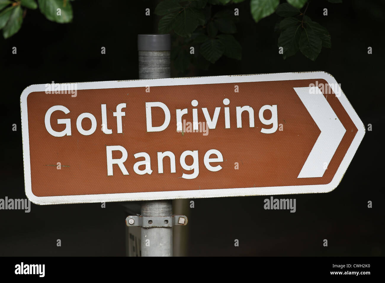 Golf Course Sign Golfing Driving Range Tourist Signpost - Stock Image