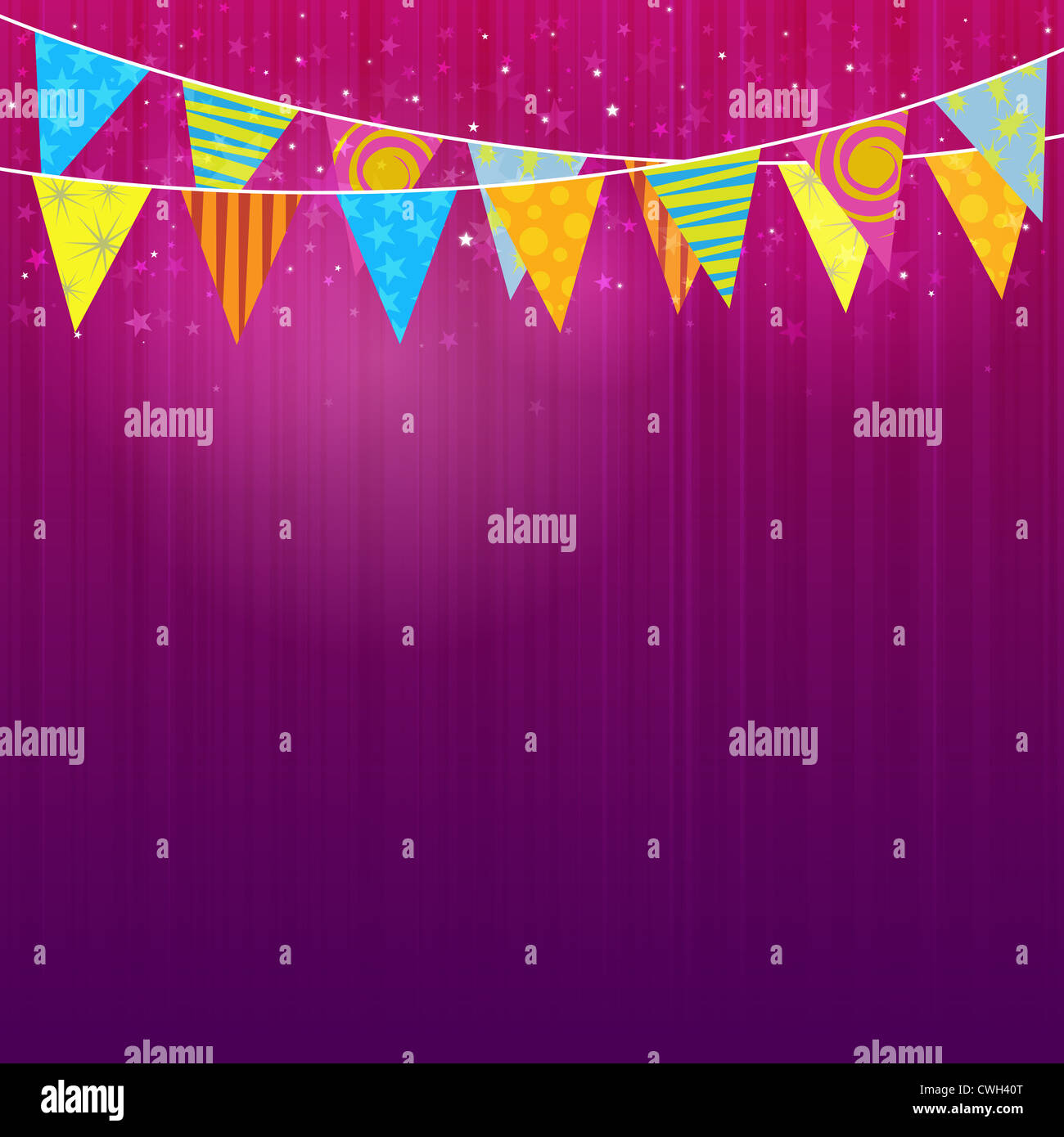 Background Of Purple Colors With Party Flags For Celebrations Stock Photo Alamy