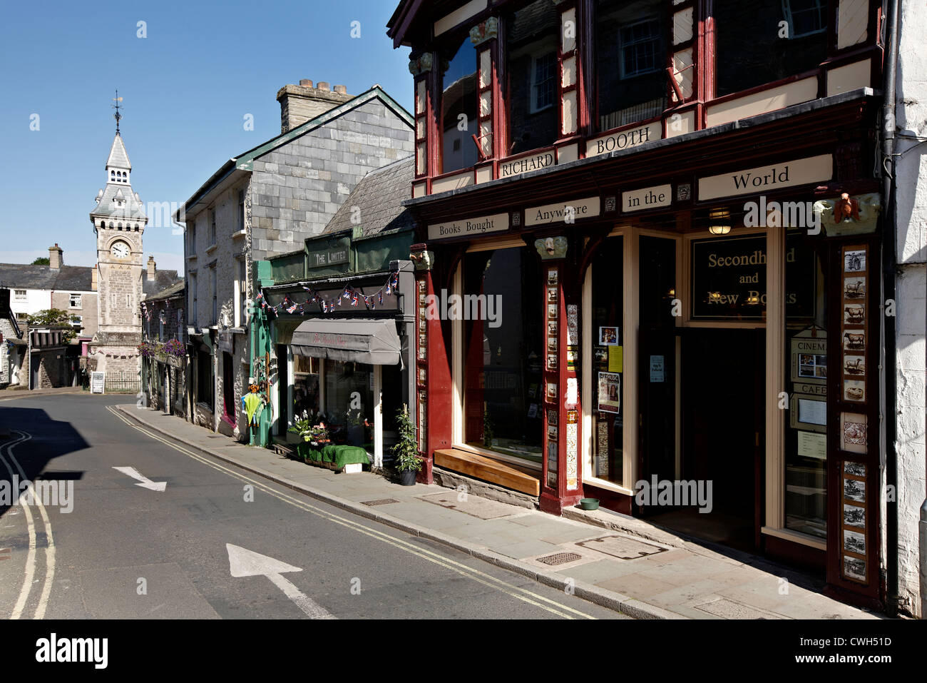 Town of Hay on Wye or Hay-on-Wye in the county of Herefordshire near Powys. Home of Bookshops and the Hay on Wye - Stock Image