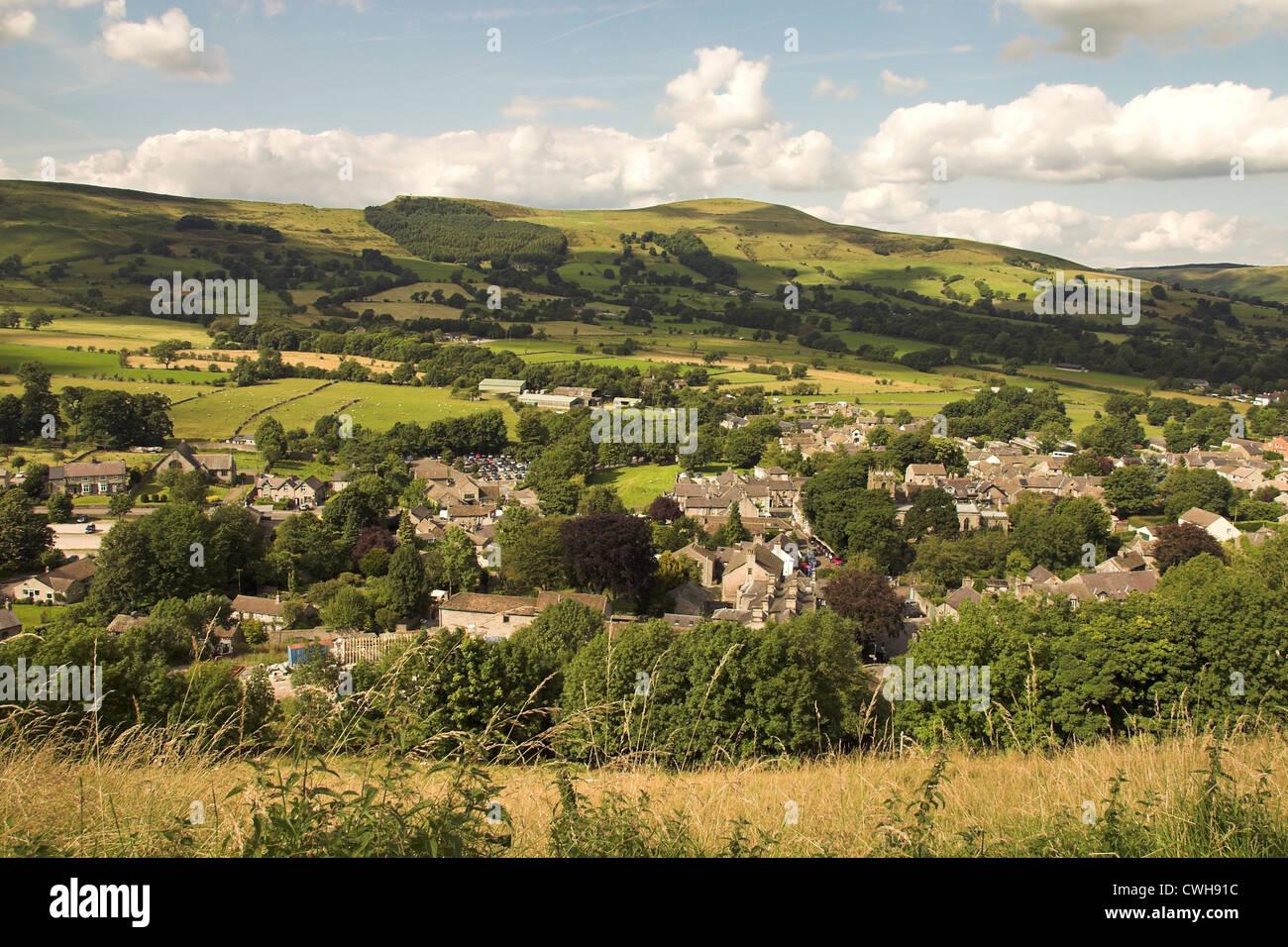 View over Castleton, from Peveril Castle, Peak District, Derbyshire, UK - Stock Image