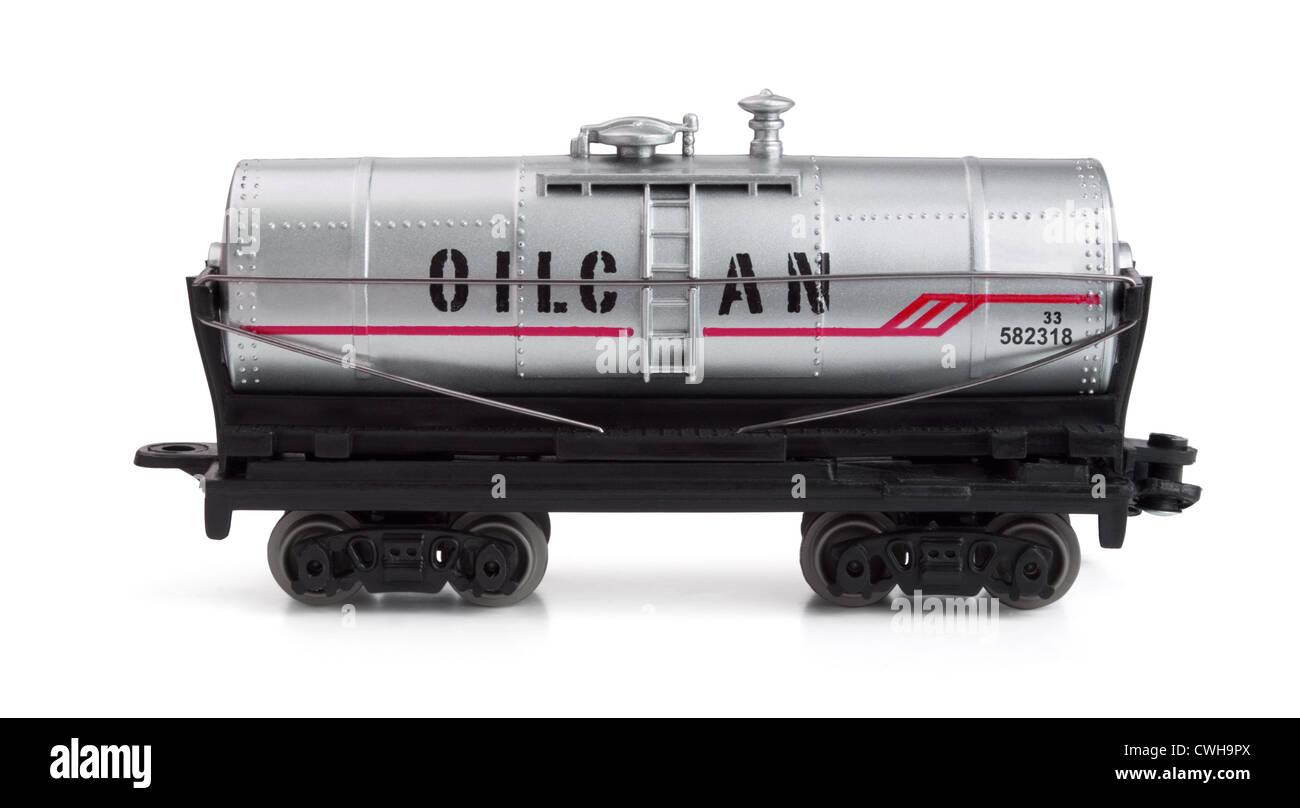 Toy railway tank isolated on white Stock Photo