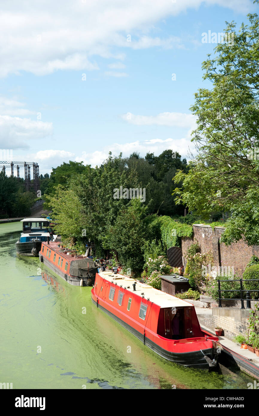 House Boats moored at canal side Stock Photo