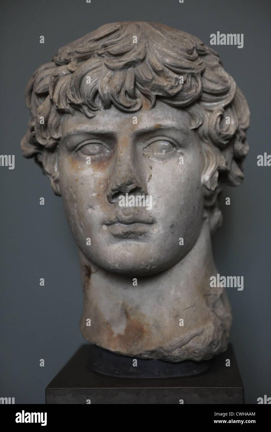 Antinous (110-130). Member of the Roman Emperor Hadrian's entourage. Bust. Marble. Dated c. 130. Carlsberg Glyptotek - Stock Image