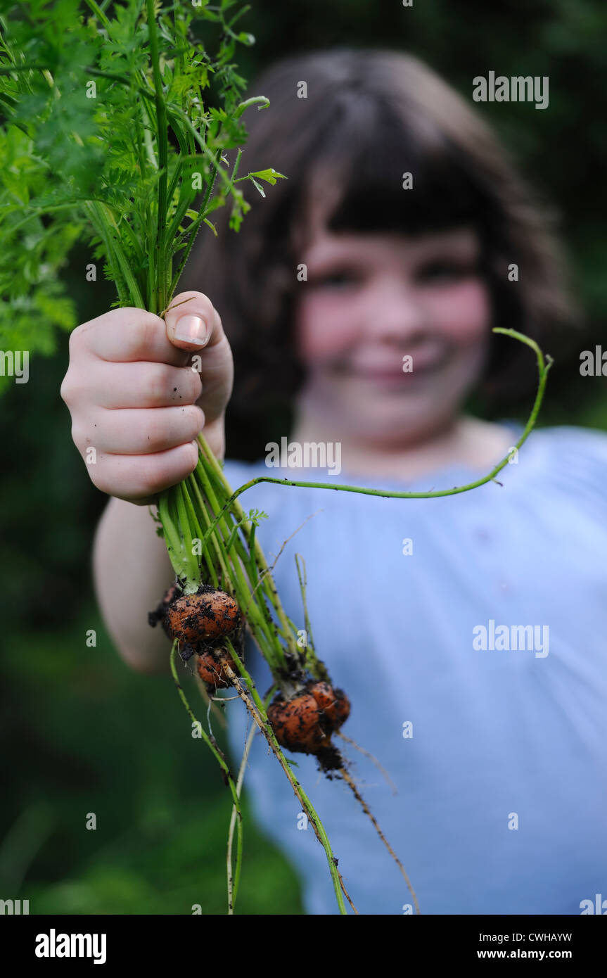 Home grown carrots and child - Stock Image