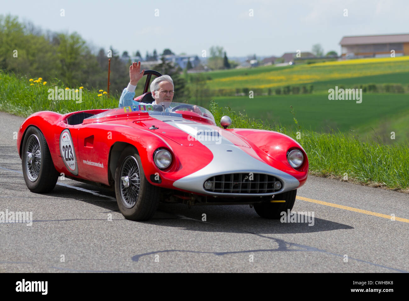 Vintage race touring car Devin TR from 1957 at Grand Prix in Mutschellen, SUI on April 29, 2012. - Stock Image
