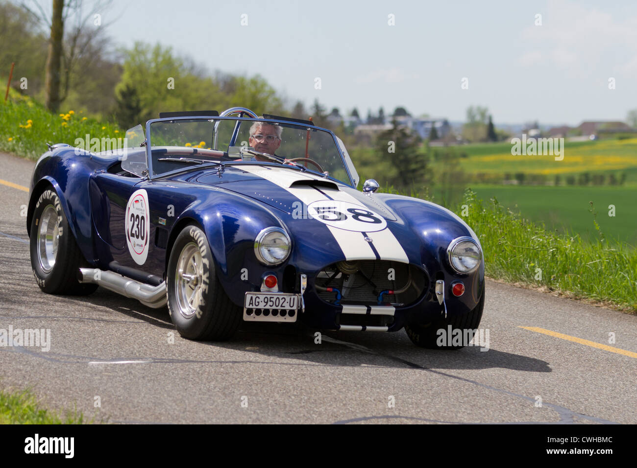 Vintage race touring car AC Cobra 427 SC Contemporary from 1965 at Grand Prix in Mutschellen, SUI on April 29, 2012. - Stock Image