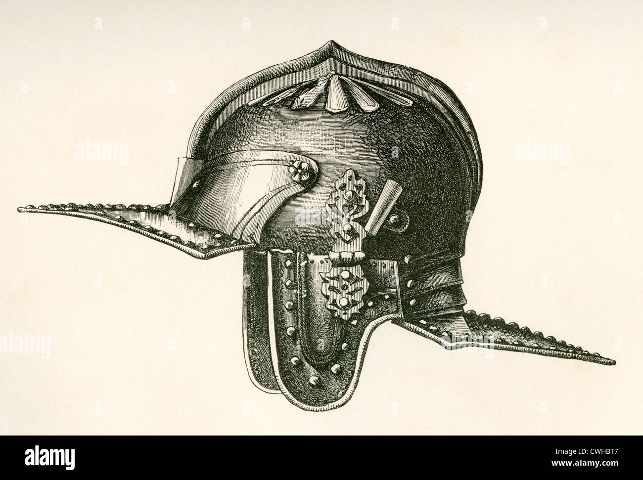 17th century helmet, said to have belonged to Oliver Cromwell. - Stock Image