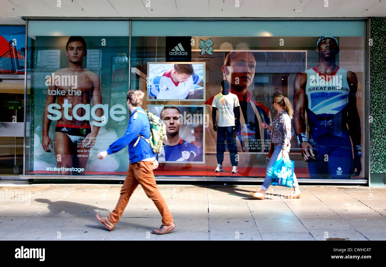 Team GB Olympics stars in Adidas window display in John Lewis, Oxford Street, London - Stock Image