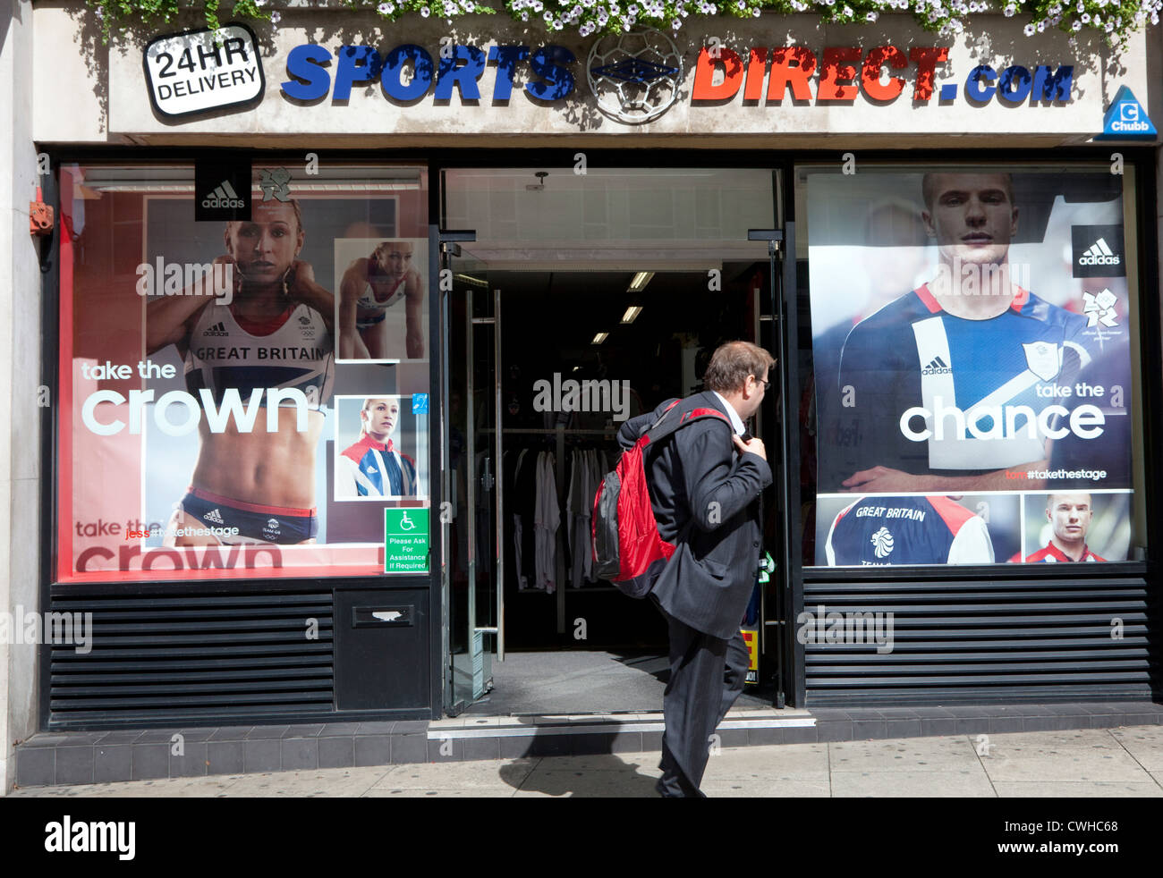Team GB Olympics stars in window display in Sports Direct store, London - Stock Image