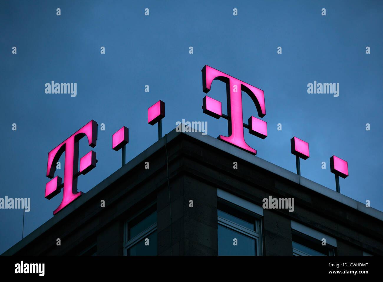 D-Dortmund, Ruhr area, Westphalia, North Rhine-Westphalia, NRW, company logo, illuminated, Deutsche Telekom AG, - Stock Image