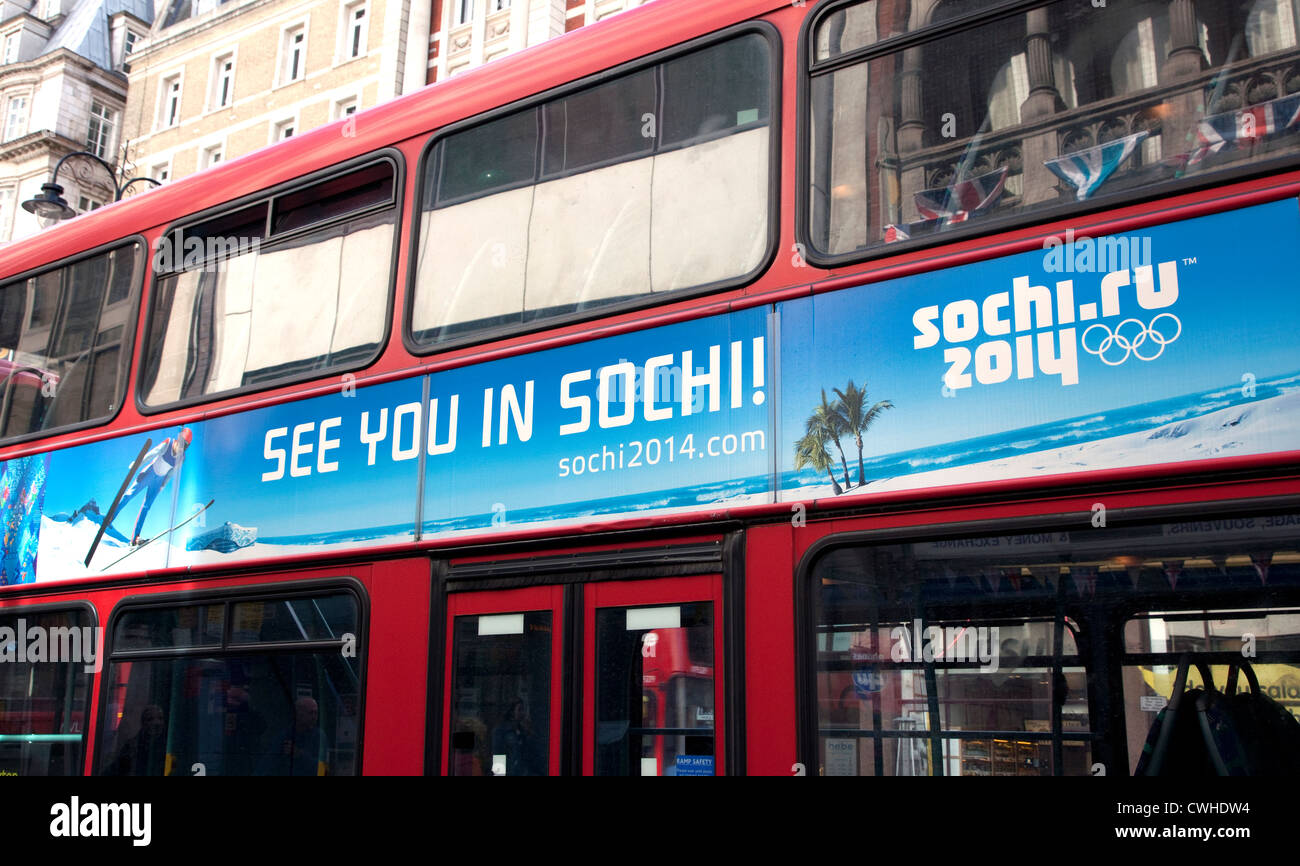 Advert for Winter Olympics 2014 in Sochi, Russia on London bus - Stock Image