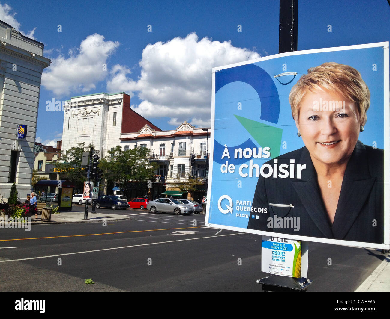 The party Quebecois has big chances to win on the 4th September 2012-They support the separation of Quebec from Stock Photo