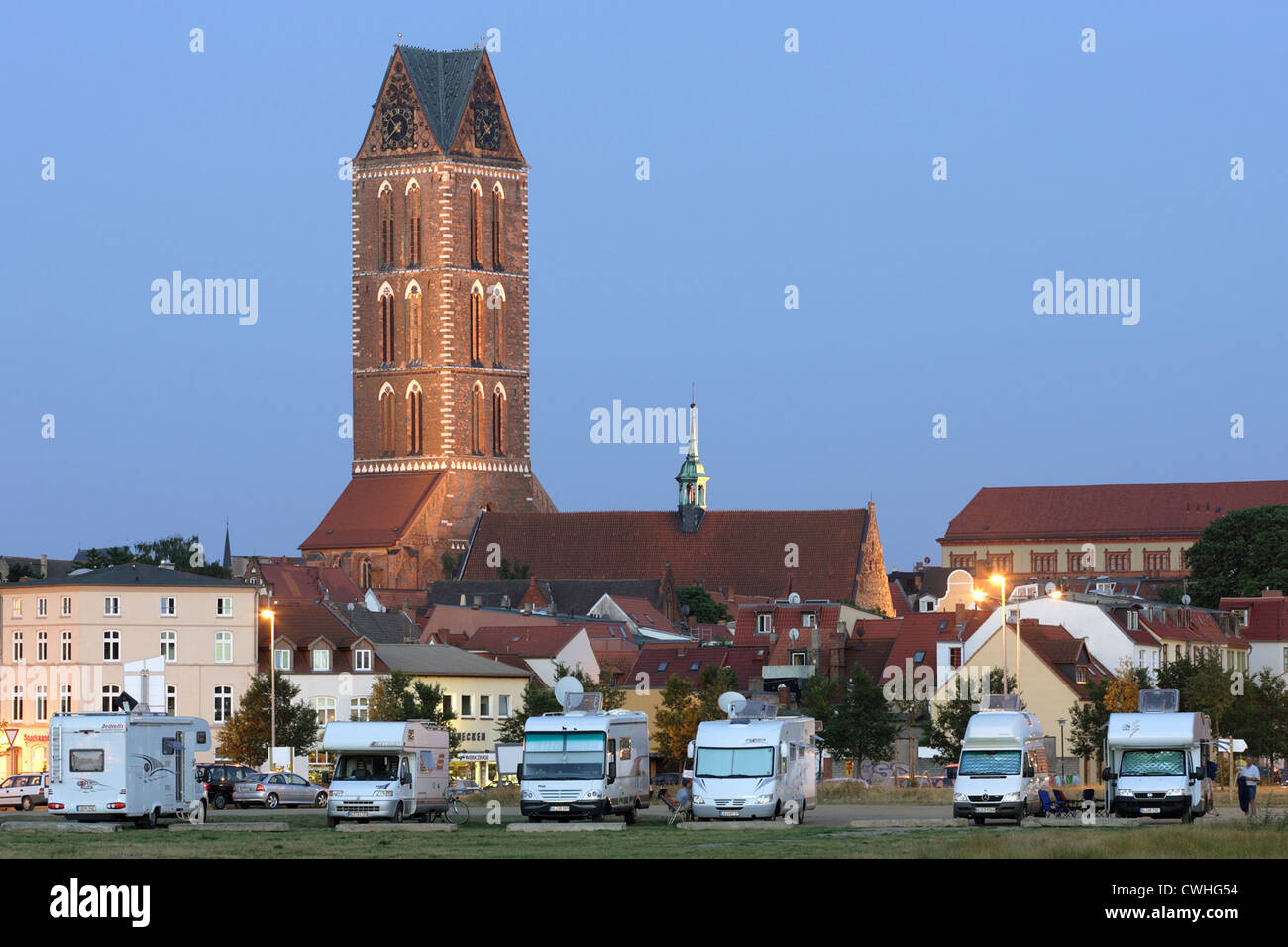 Wismar, Cityscape with the Church of Saint Mary - Stock Image