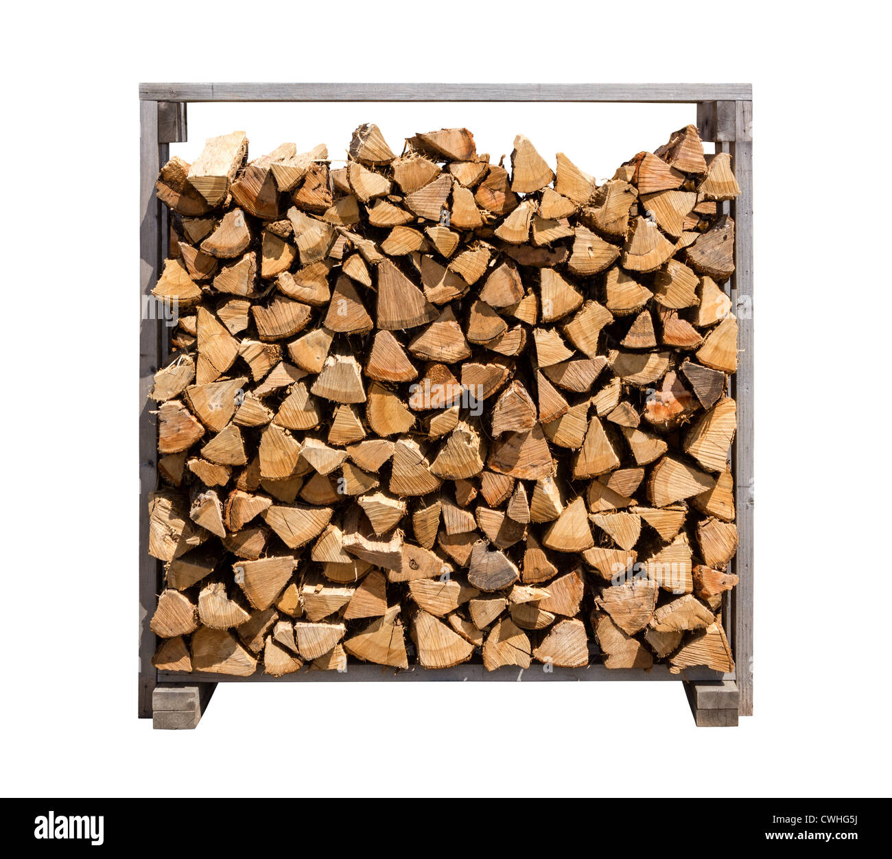 Stacked Firewood isolated on a white background - Stock Image