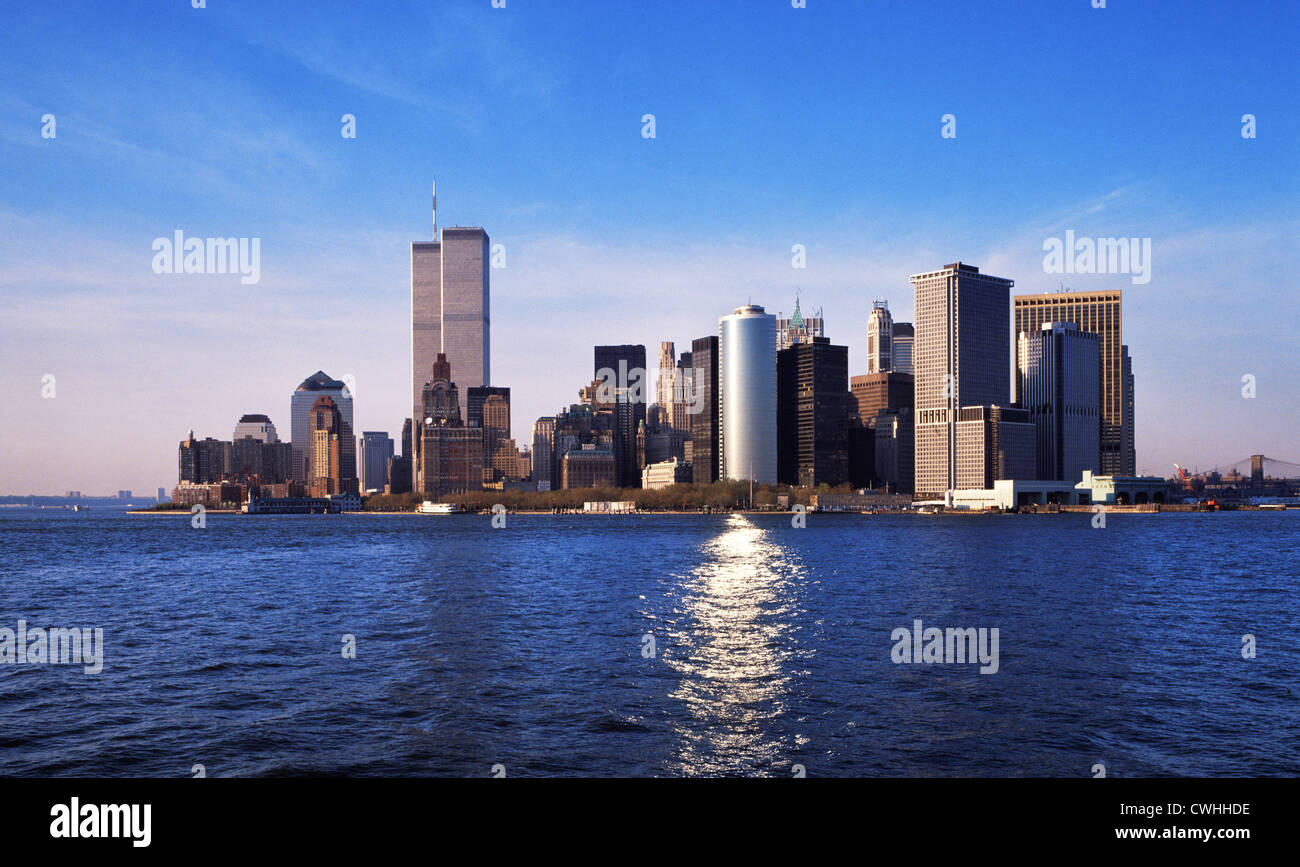 Manhattan Island, New York with the World Trade Center 1998 - Stock Image