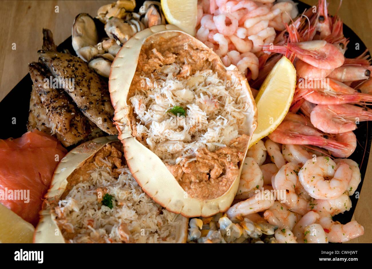 seafood platter, west mersea, essex, england - Stock Image