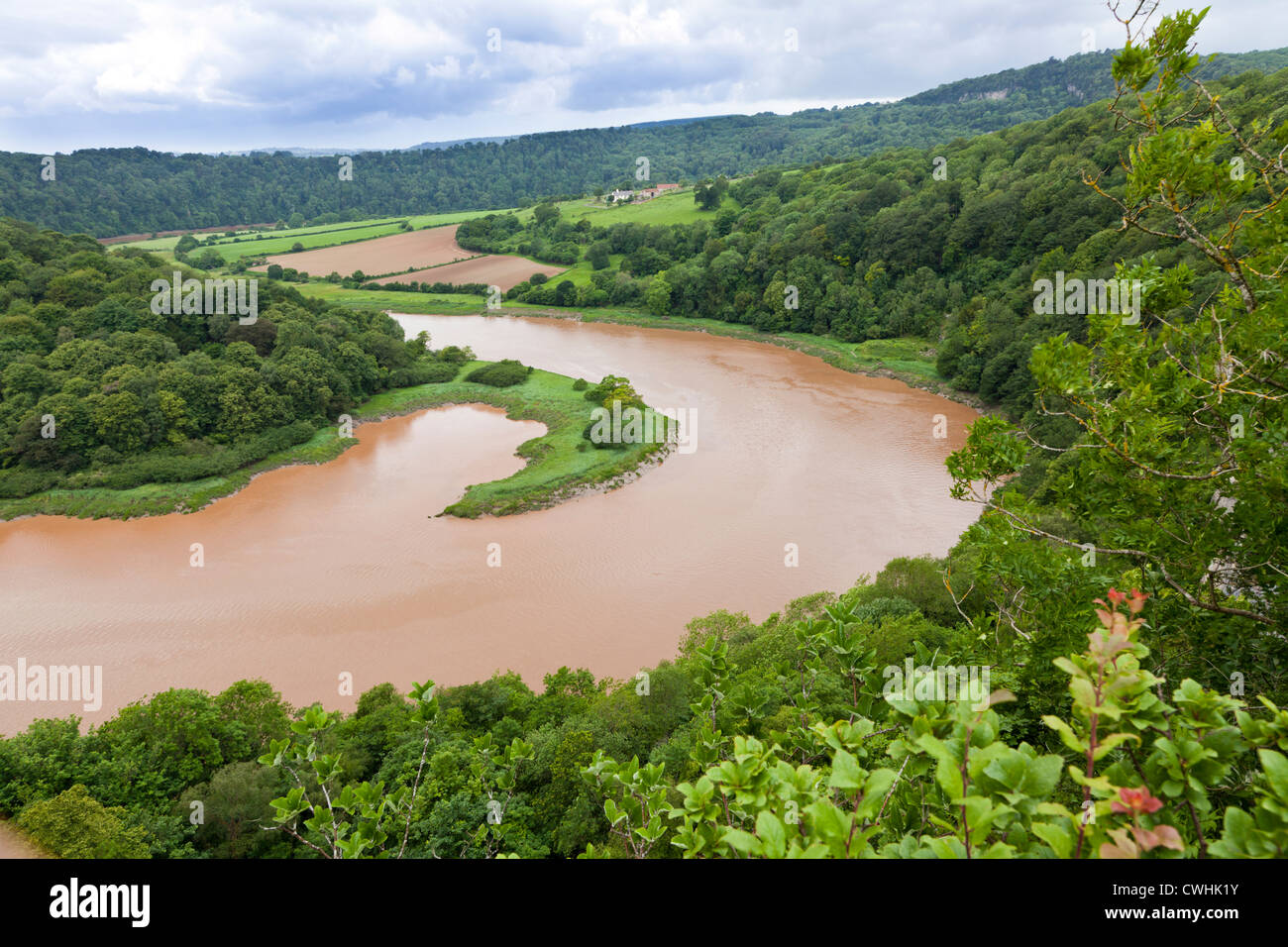 A sharp bend in the River Wye at high water viewed from Wintours Leap in the Forest of Dean, Gloucestershire, UK - Stock Image