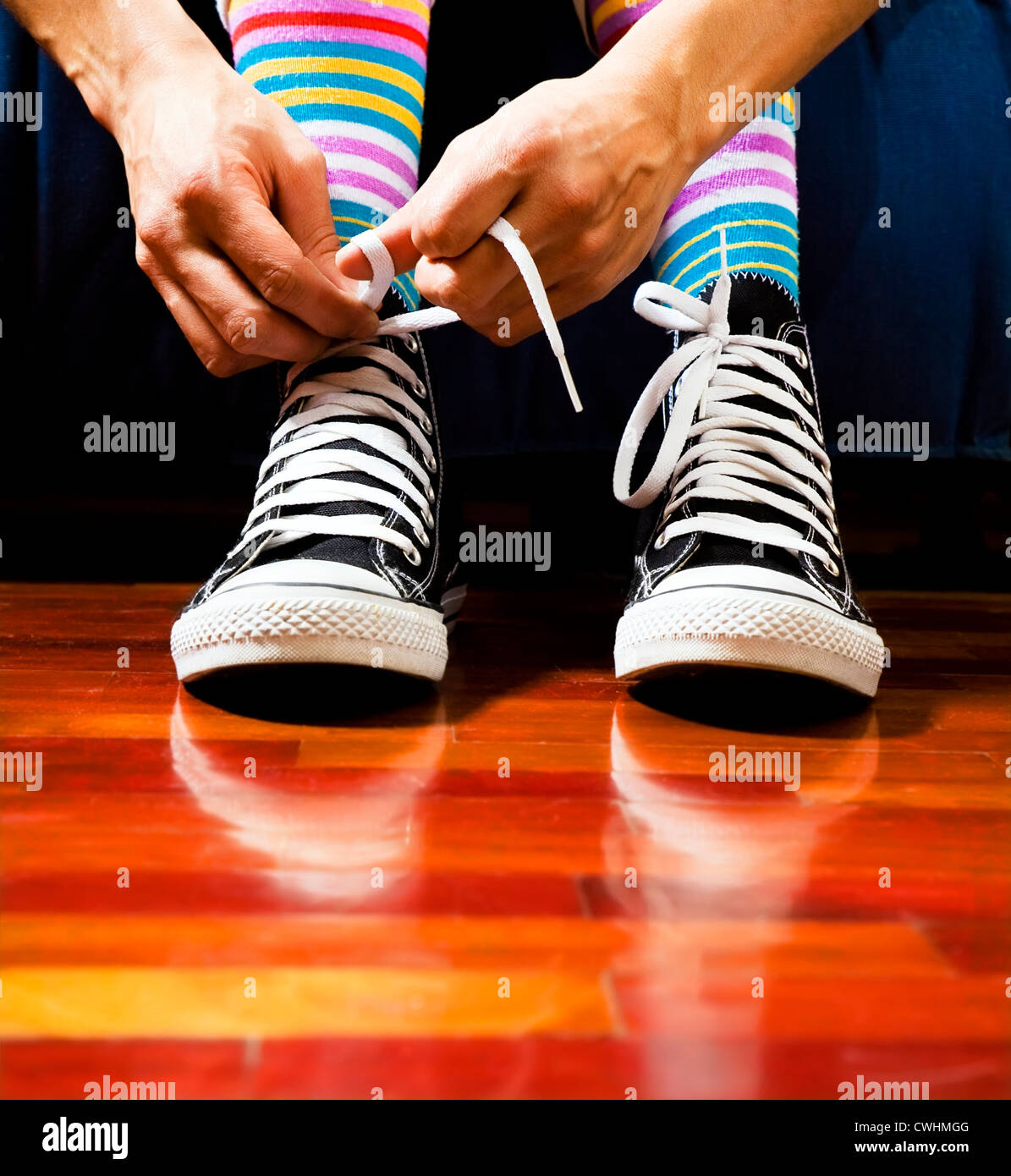 shoe,sneaker,striped sock - Stock Image