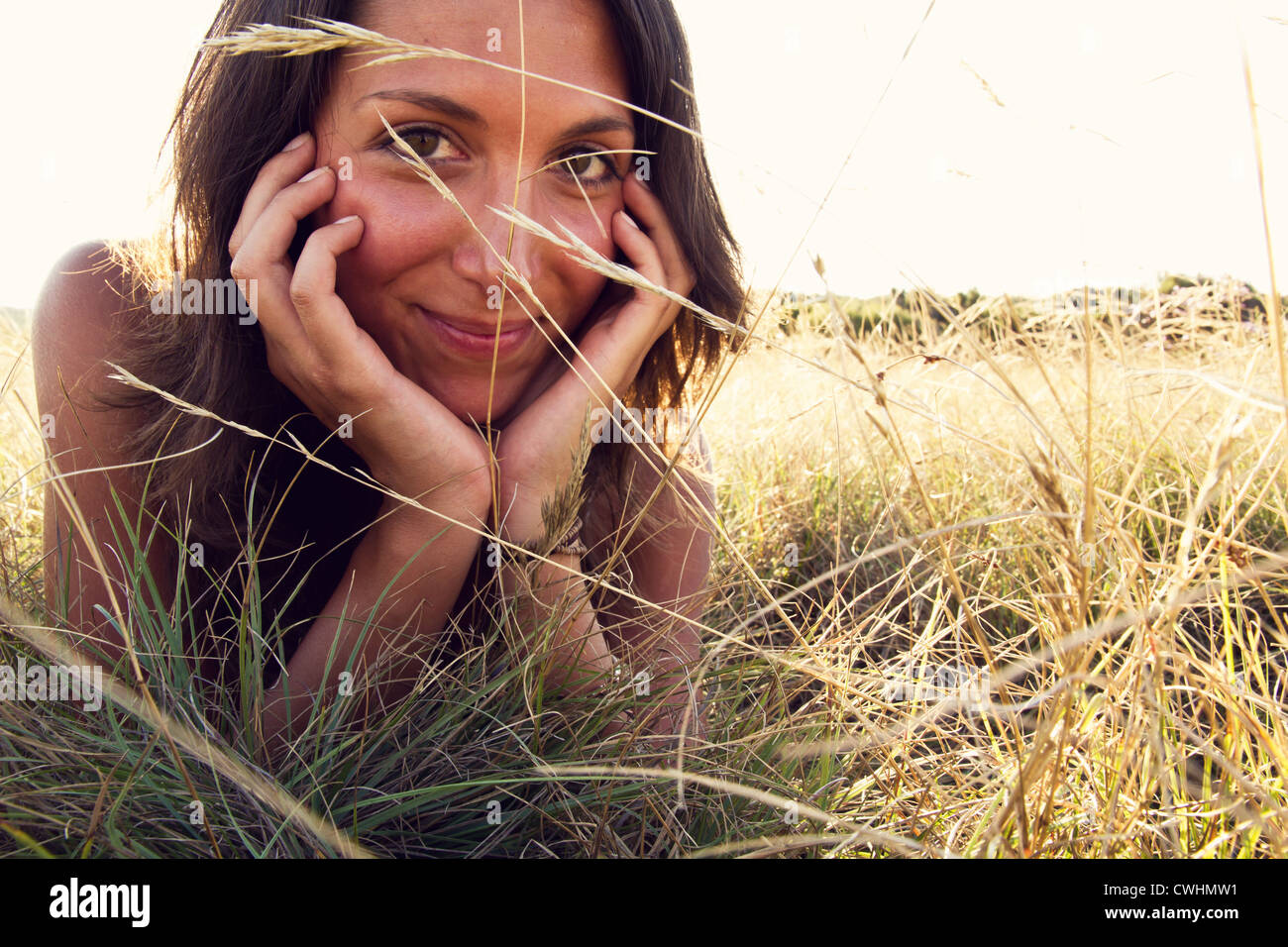 young woman,enjoyment,relaxation,summer - Stock Image