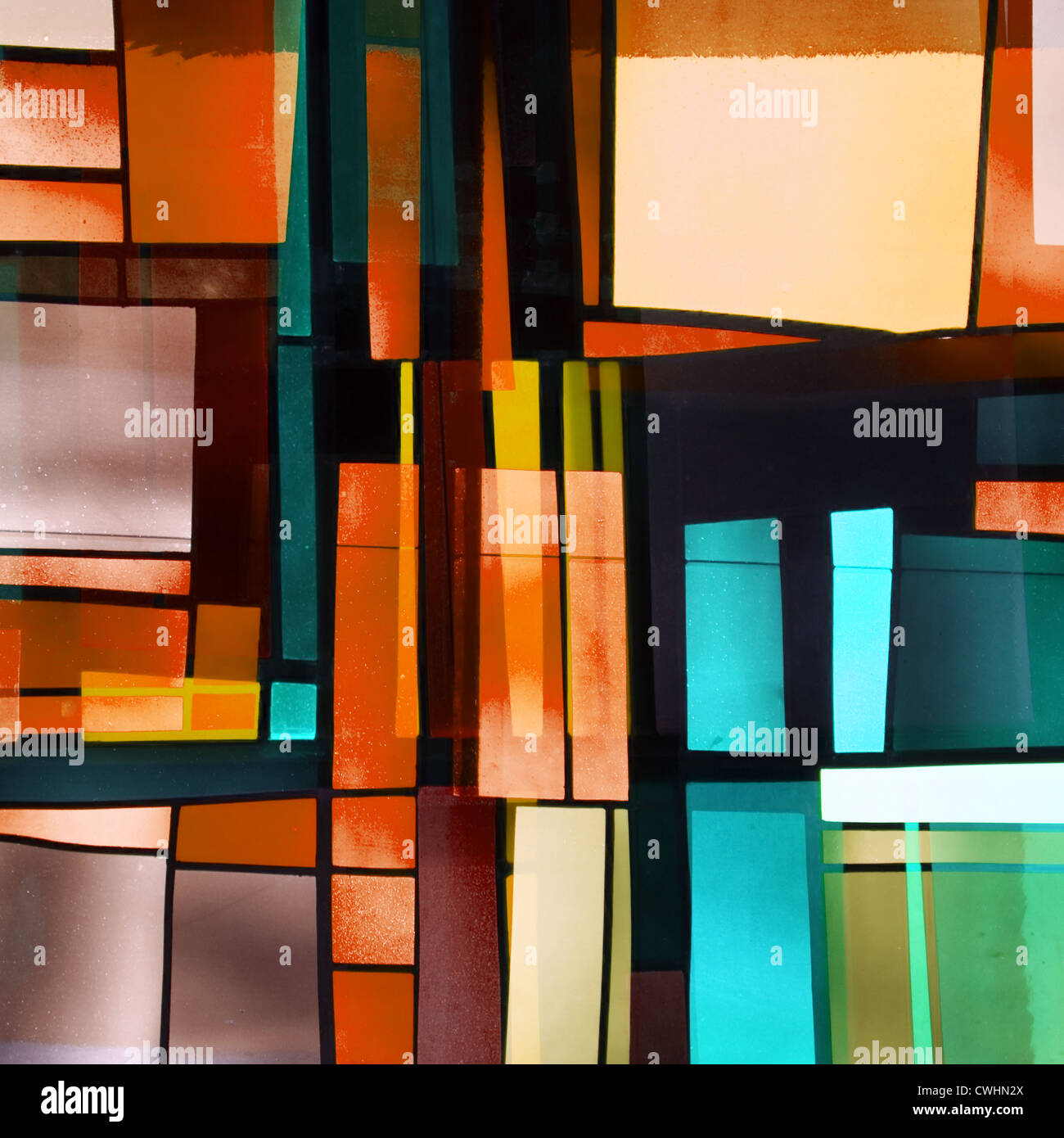 modern architecture,facade,stained-glass window - Stock Image