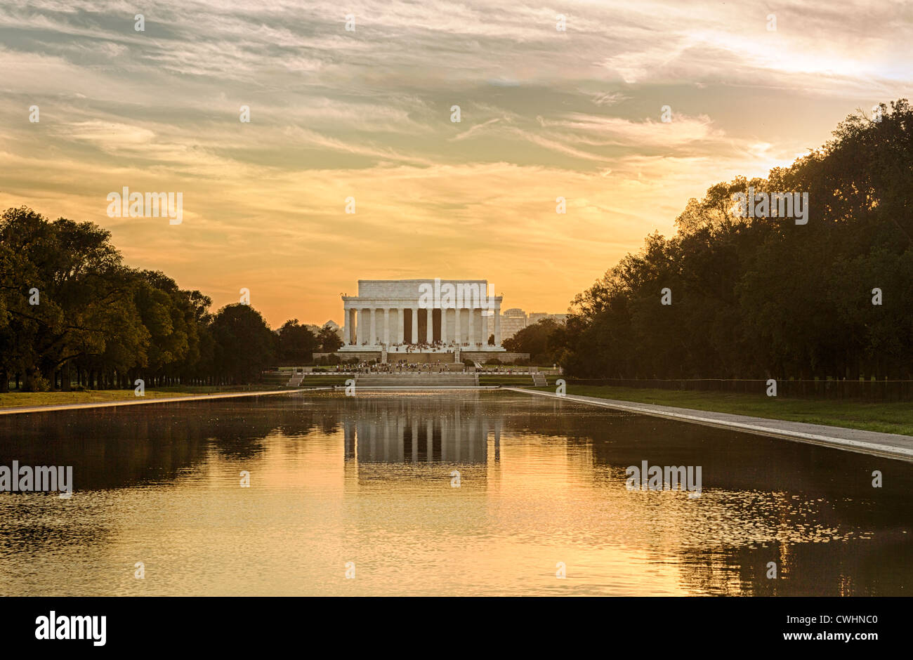 Setting sun illuminates Jefferson Memorial in Washington DC with reflections in new Reflecting Pool - Stock Image