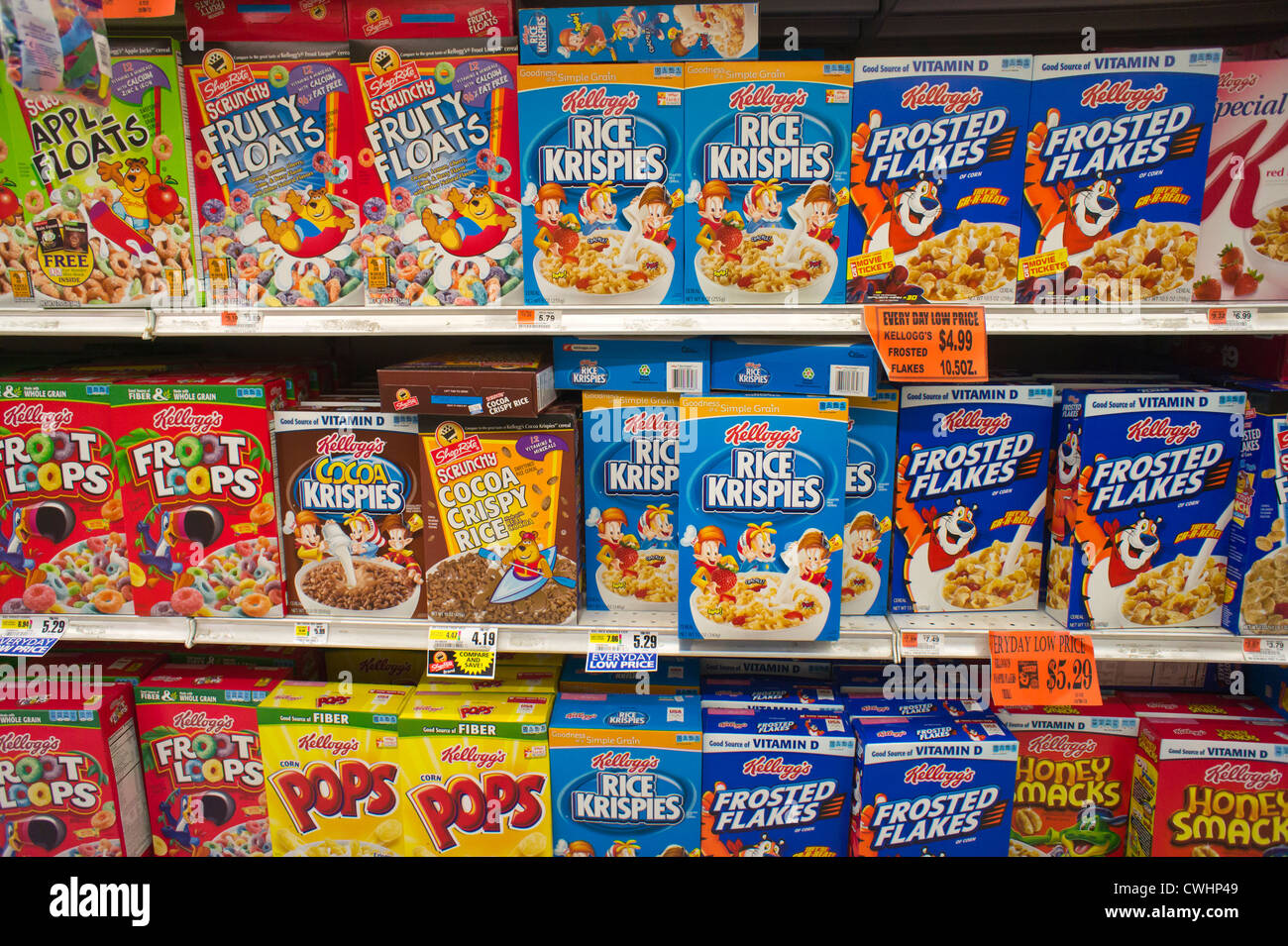 boxes of kellogg s breakfast cereals with generic brands mixed in on