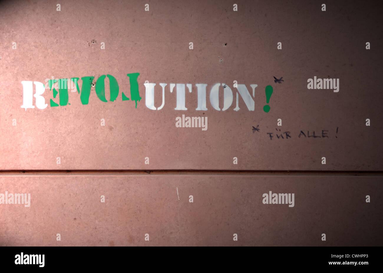 writing,youth culture,statement,streetart,revolution - Stock Image