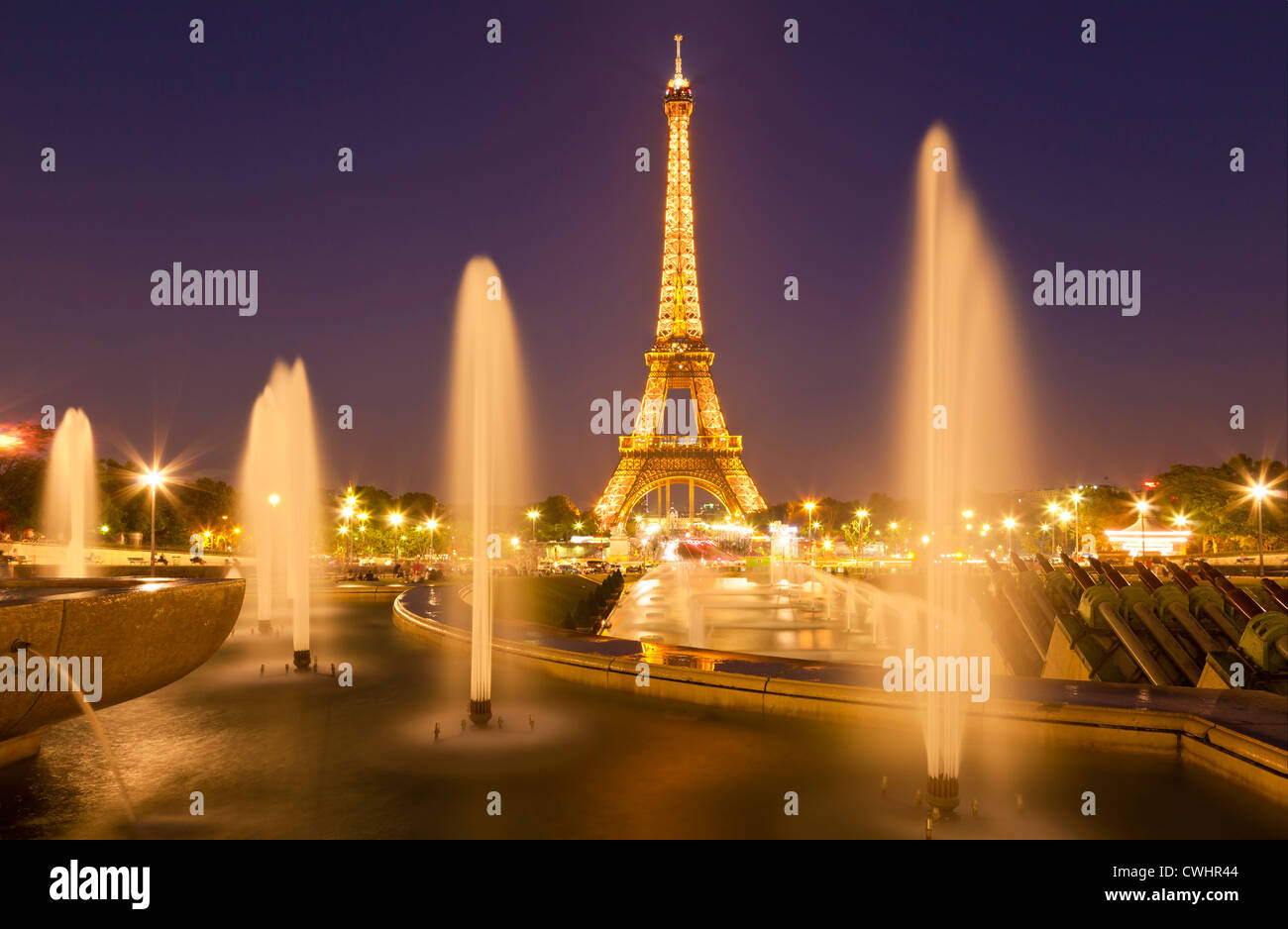 Paris skyline France EU Europe Eiffel tower with Trocadero fountains at night - Stock Image