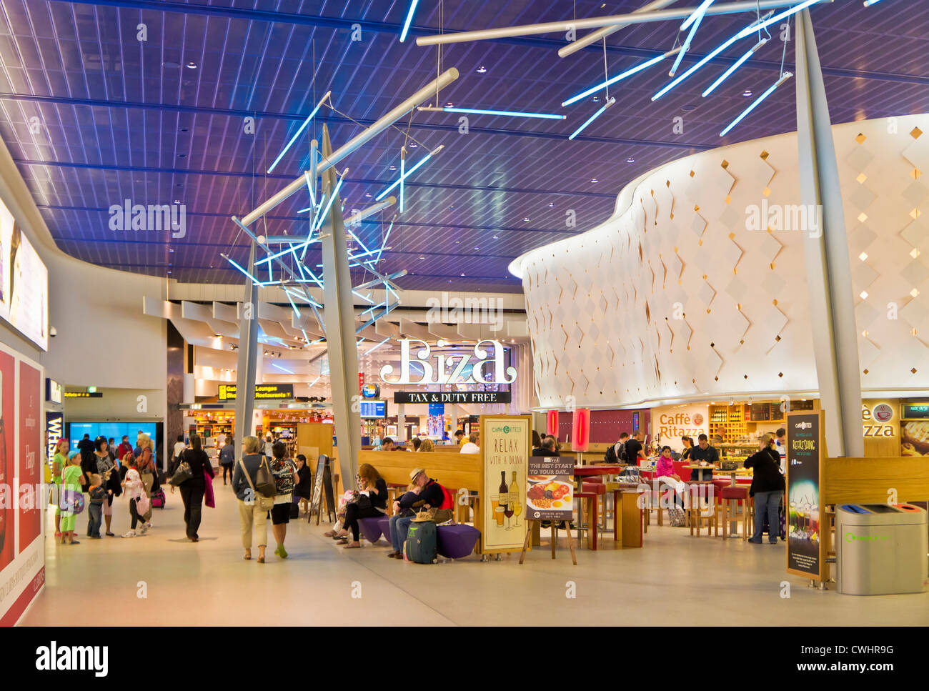Duty free shops at the departures lounge area of Manchester International Airport  England UK GB EU Europe - Stock Image