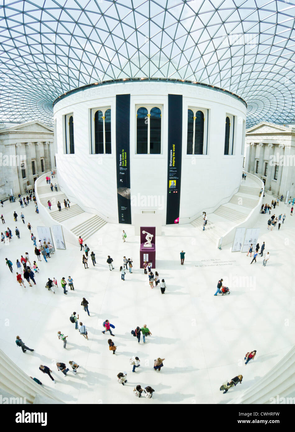British Museum London Queen Elizabeth II 'Great Court' glass roof designed by architect Norman Foster London - Stock Image