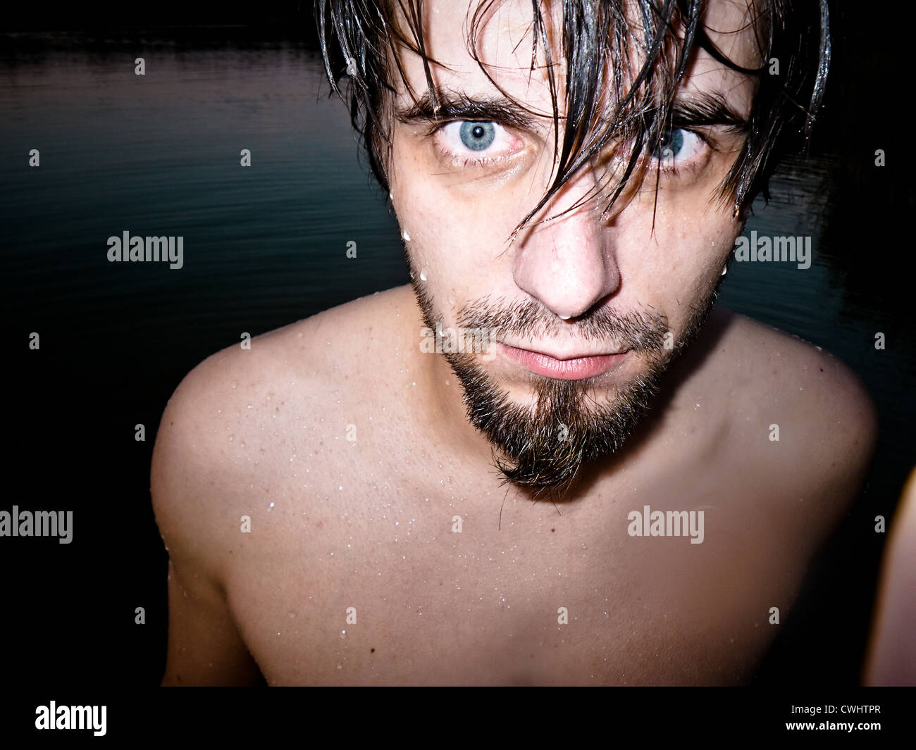 young man,wet,bathing Stock Photo