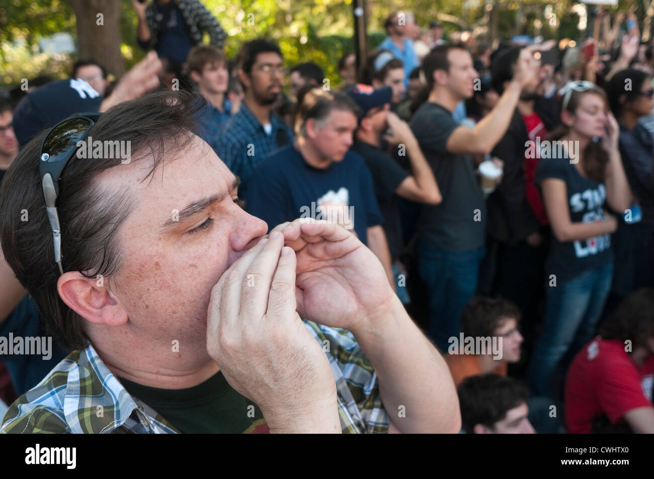 The Human Mic during an Occupy Wall Street General Assembly - Stock Image