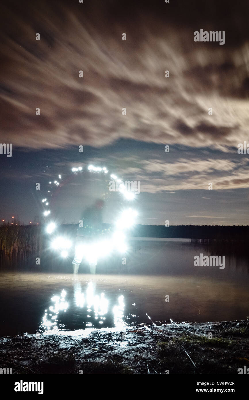 lake,light,ghost,lightbrush - Stock Image