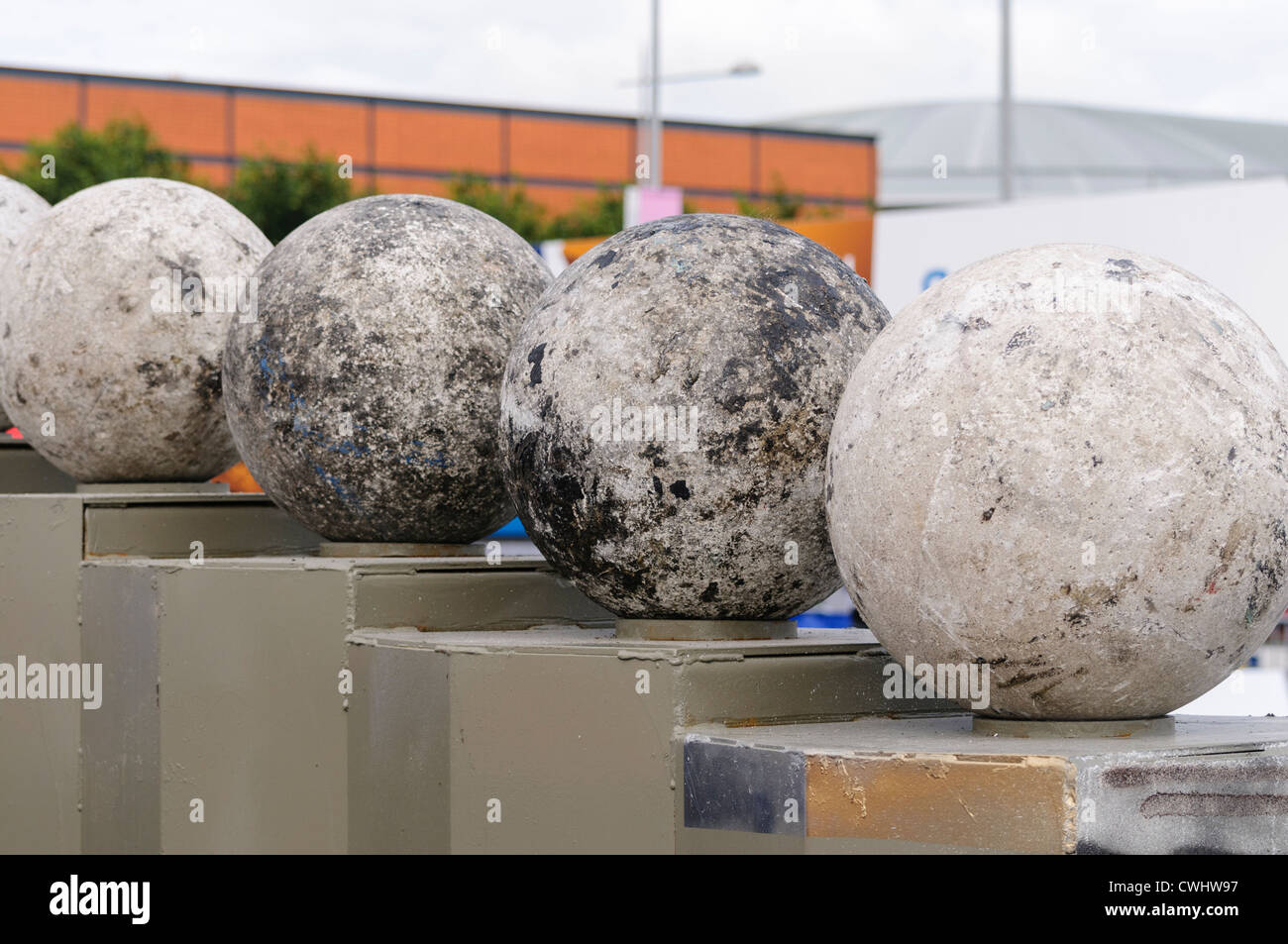 Atlas Stones on their podiums at a Strongman Contest - Stock Image