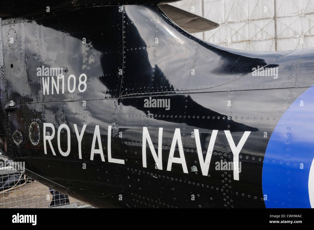 Royal Navy logo on the tail of a 1954 Hawker Sea Hawk aircraft - Stock Image