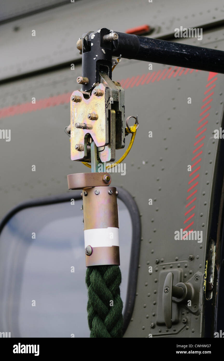 Rope release latch of a Royal Air Force Puma helicopter - Stock Image