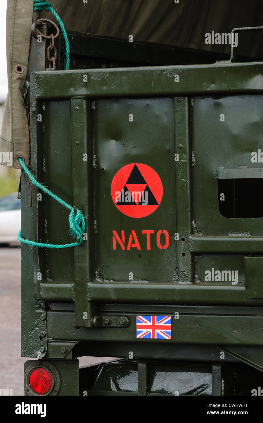 NATO logo on the rear of a British Army lorry - Stock Image