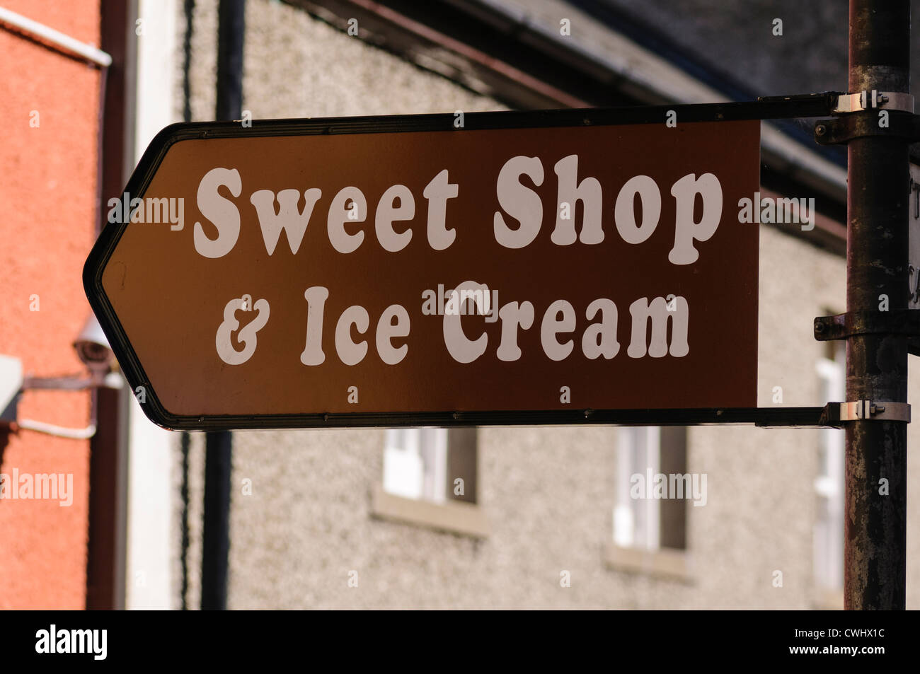 Sign to sweet and ice cream shop - Stock Image