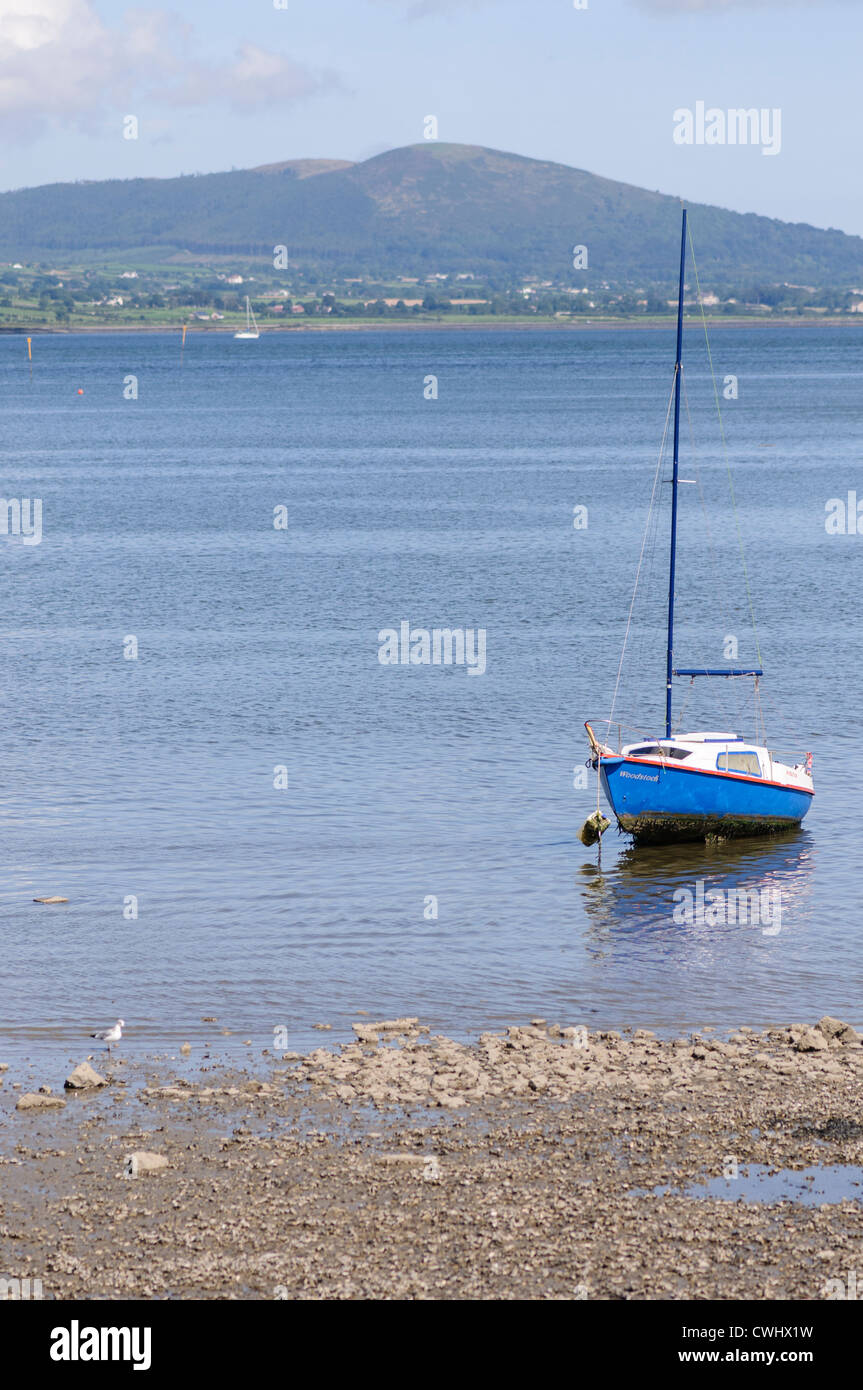 Small yacht anchored close to the shore with the tide out - Stock Image
