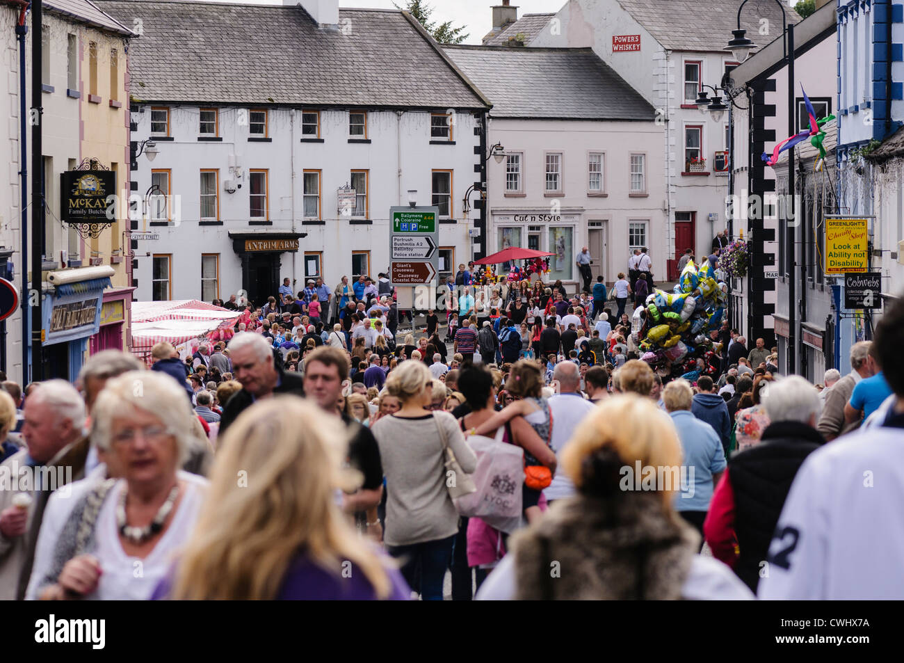Thousands of people on the streets of Ballycastle during the Ould Lammas Fair Stock Photo