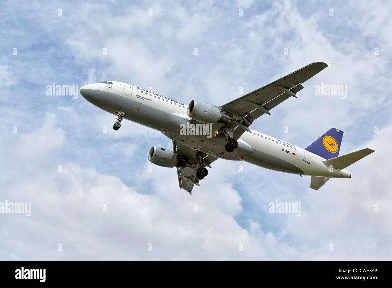 An Airbus A320 of the German airline Lufthansa of final approach - Stock Image