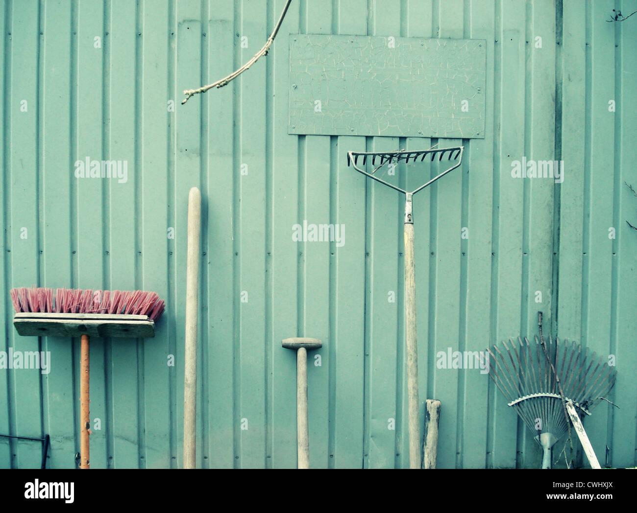 gardening,garden equipment,parked - Stock Image
