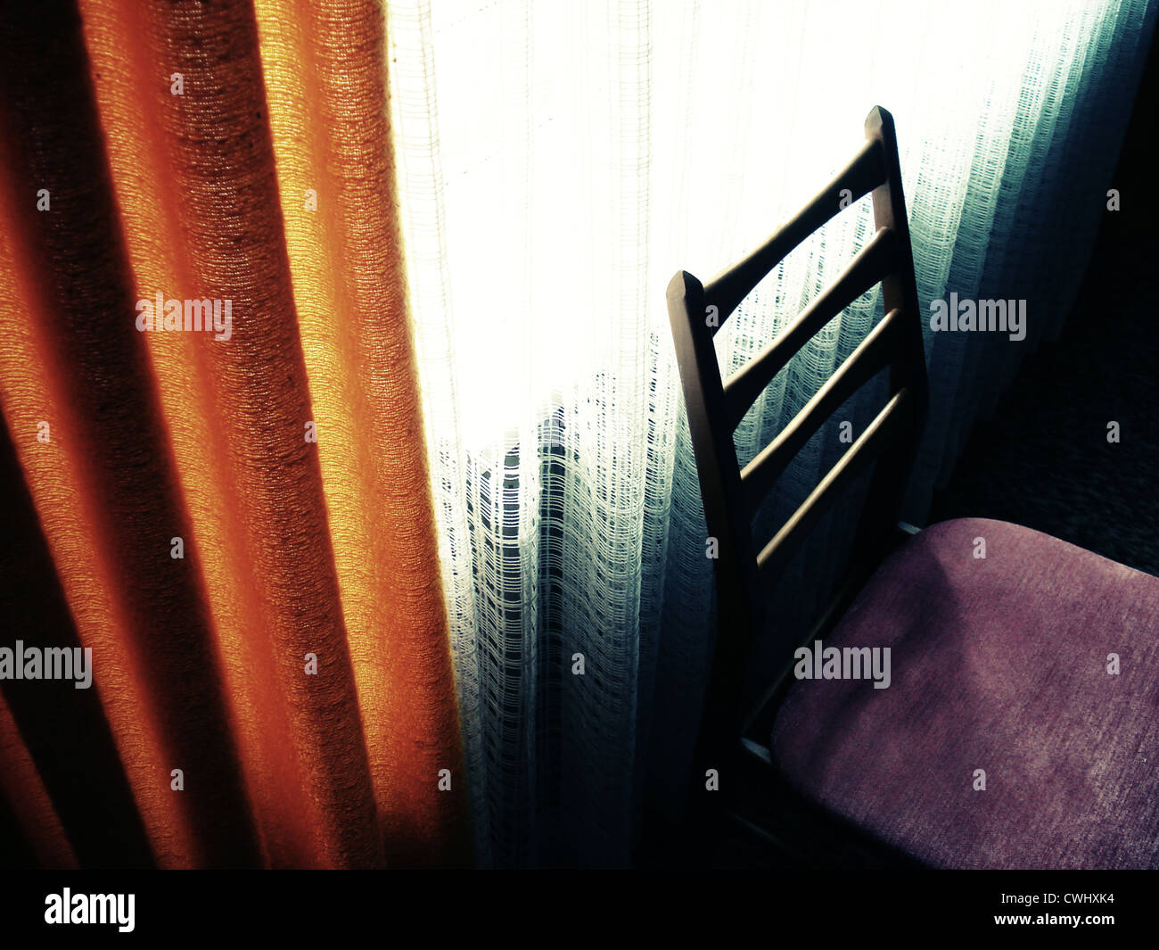 retro,chair,window,70s,curtain - Stock Image