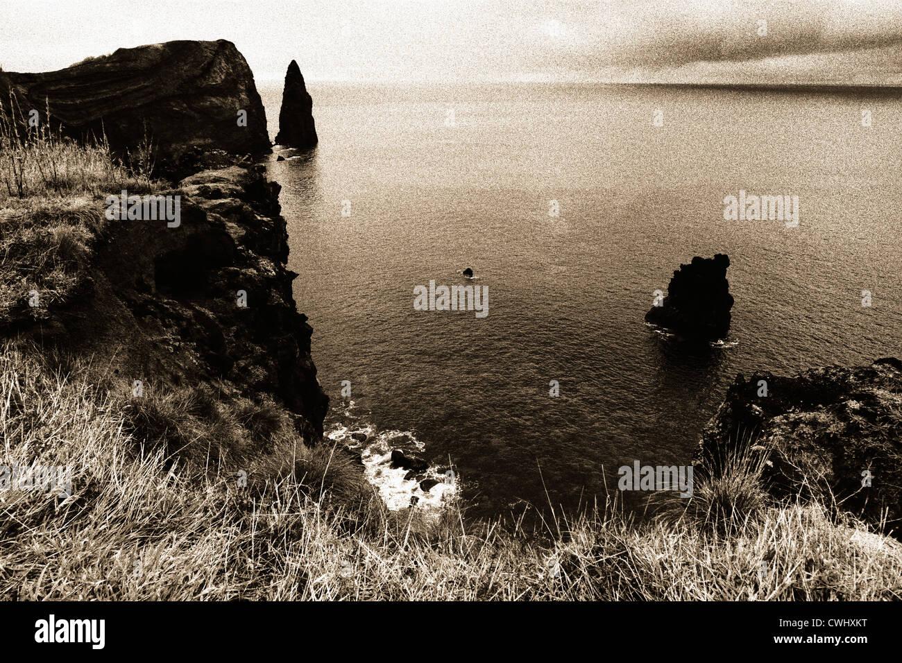 Coastal landscape from Sao Miguel island on sepia tones. Azores islands; Portugal. - Stock Image