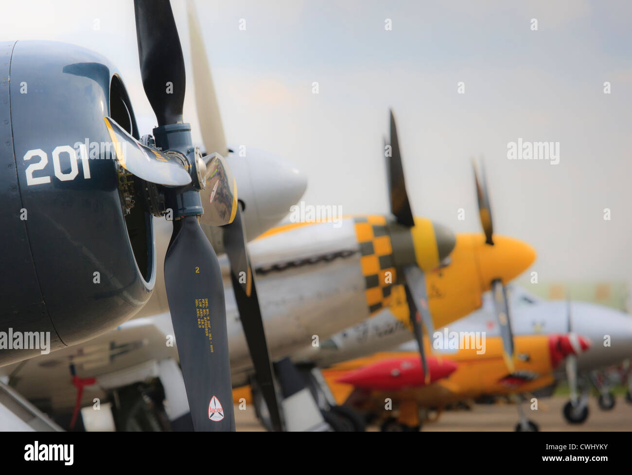 Propellor blades side view of line of planes at Duxford airshow - Stock Image