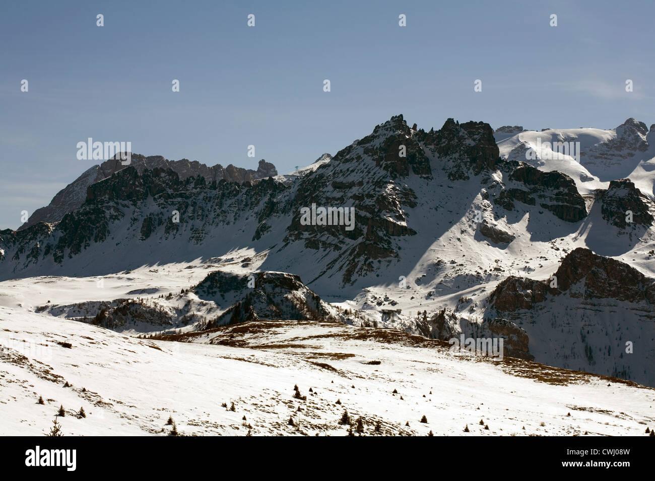 Massive limestone cliffs from Corvara Alta Badia  Dolomites  Italy Stock Photo