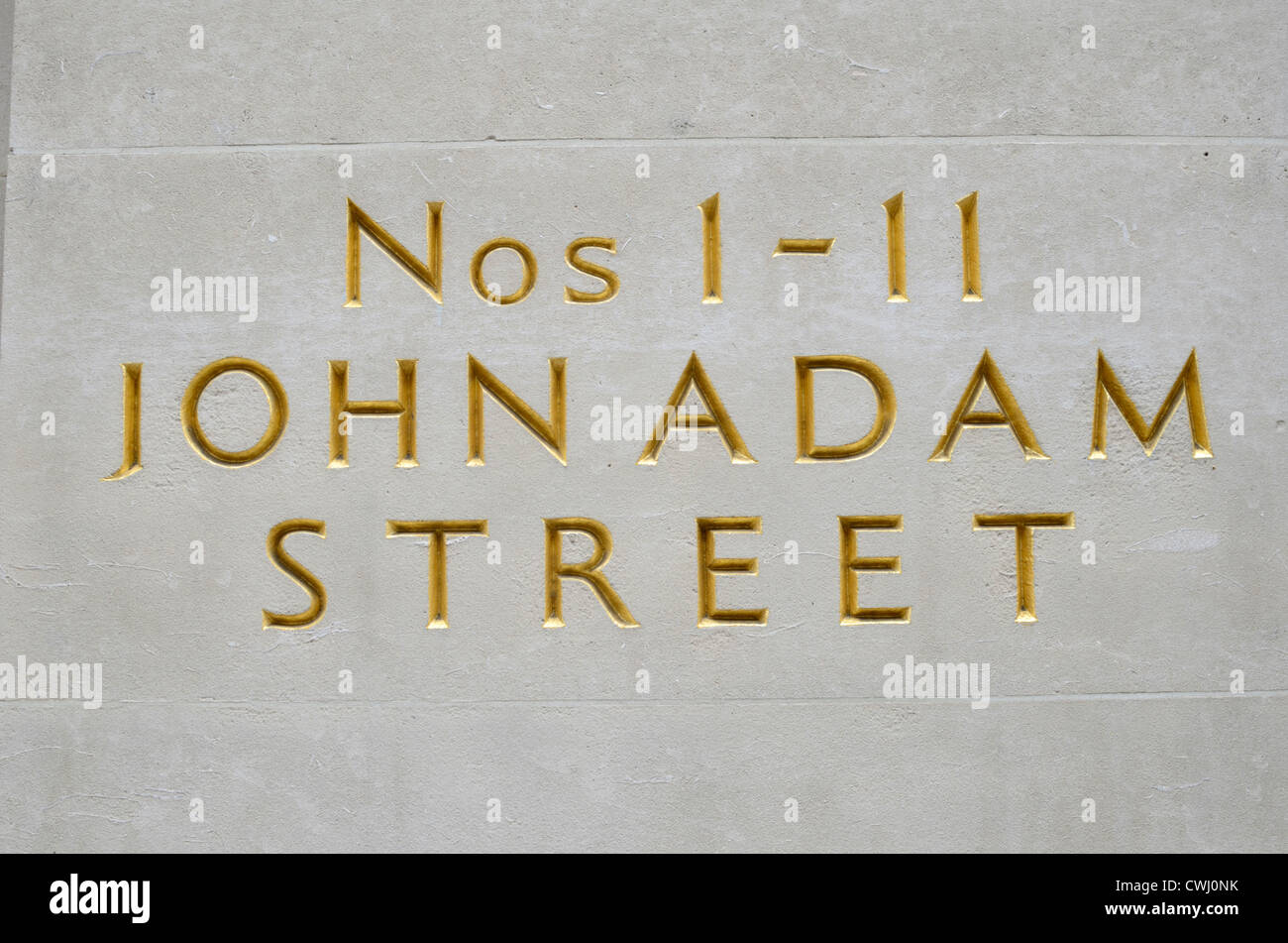 Nos 1-11 John Adam Street sign on a building wall, London, England - Stock Image