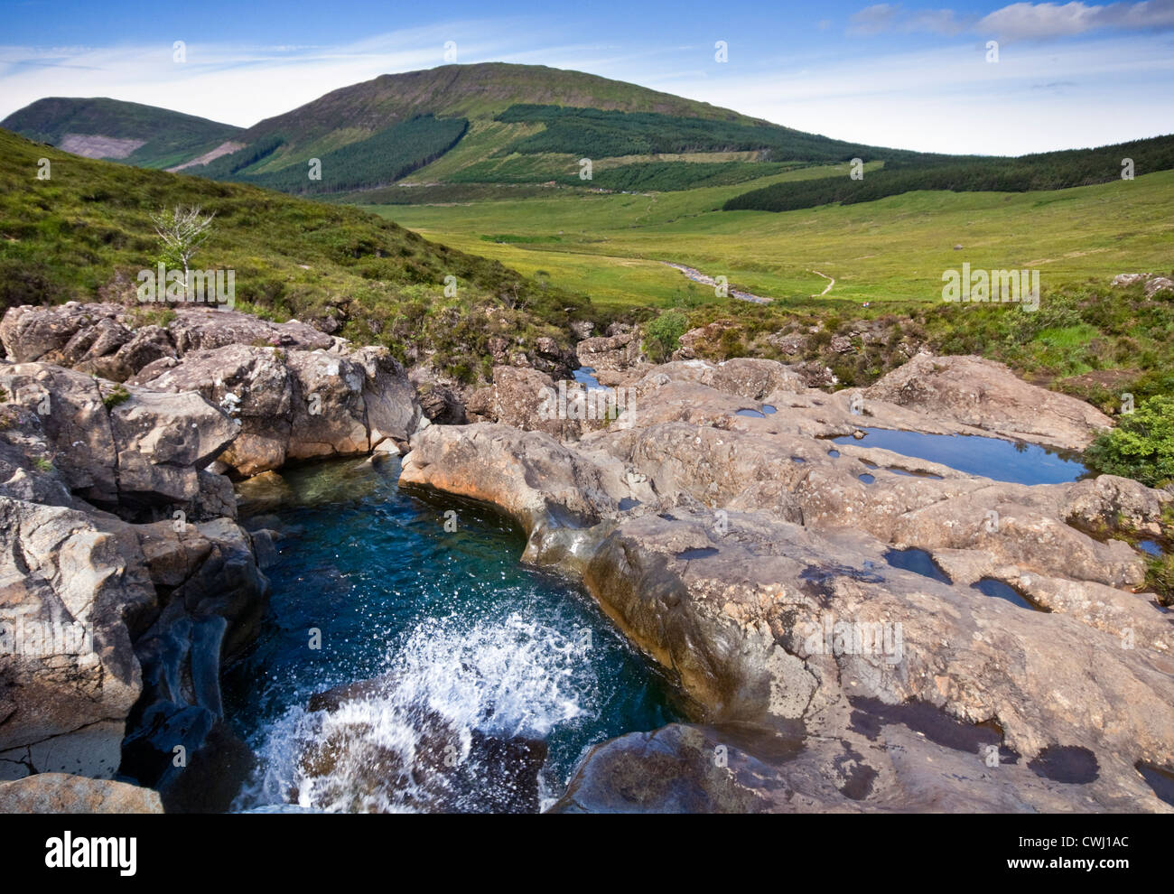 The mountains near the Fairy Pools at Glen Brittle on the Isle of Skye in Scotland, UK - Stock Image