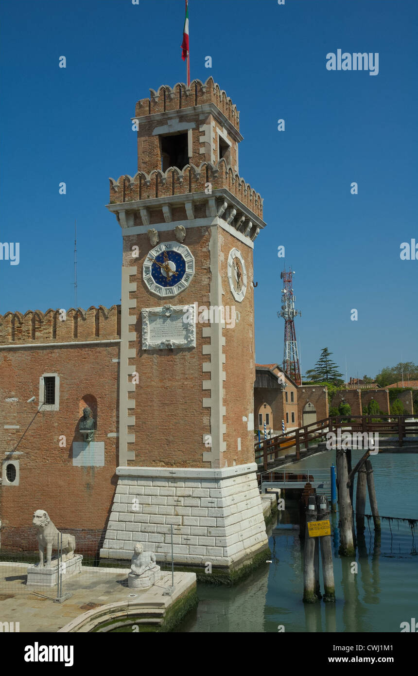 Water entrance to the Venice Arsenale. - Stock Image